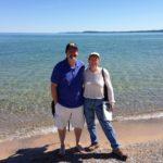 Walking along Michigan's great lake.
