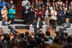 Justices Sonia Sotomayor and Susanne Baer reflect on the future of the university community during the President's Bicentennial Colloquium moderated by journalist Michelle Norris at Hill Auditorium on the campus of the University of Michigan in Ann Arbor on Jan. 30, 2017.