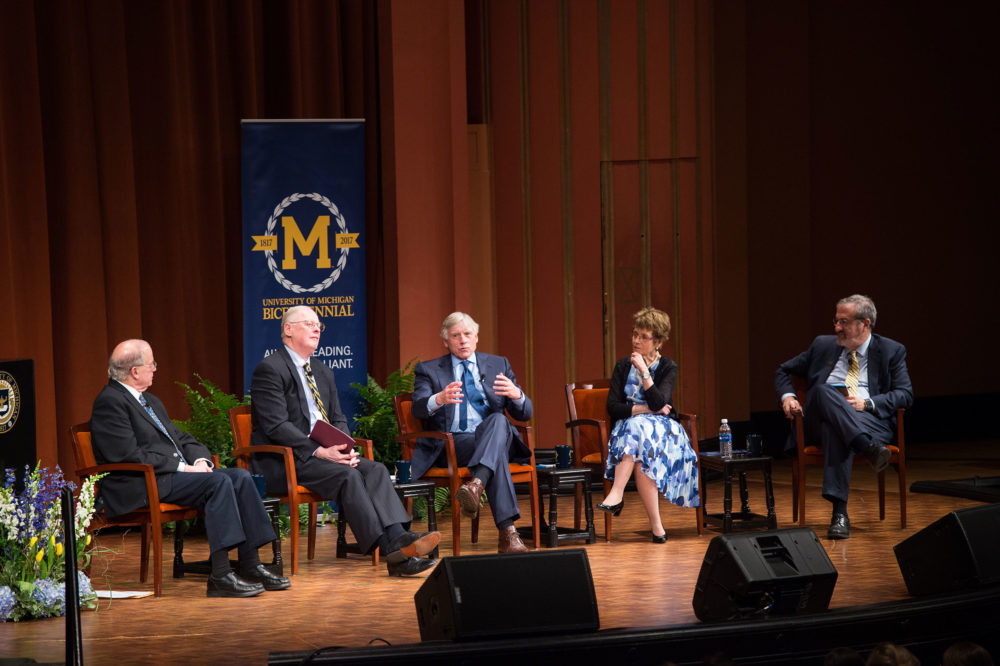4/6/17 President Schlissel hosts a panel discussion with four past presidents regarding societal expectations of the University of Michigan