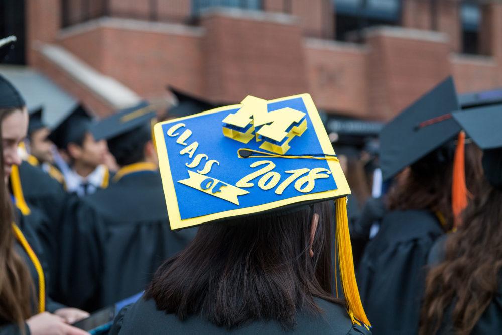 M Class of 2018 on graduate's cap