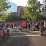 A public square in downtown Grand Rapids in front of the art museum. There was an outdoor dancing party.