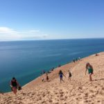 Hardy souls climbing the dunes at Sleeping Bear Dunes National Lakeshore.