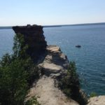 A view from the shore at Pictured Rocks National Lakeshore out onto Lake Superior.