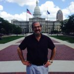 In front of the State Capital in Lansing.