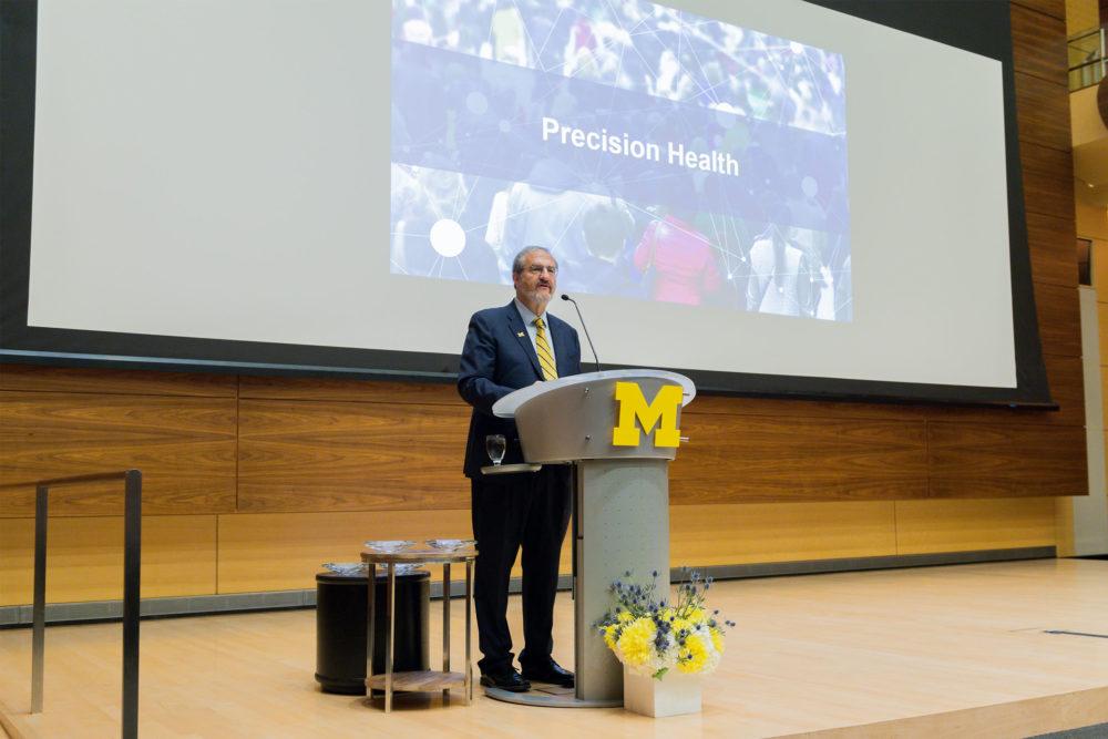 President Mark S. Schlissel speaking at the 2017 Leadership Breakfast