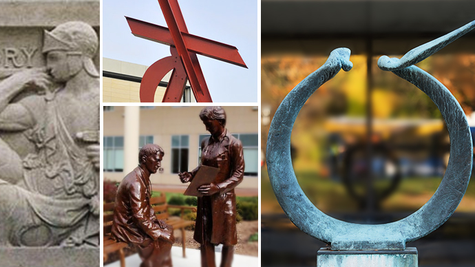 Collage of four examples of public art at the University of Michigan