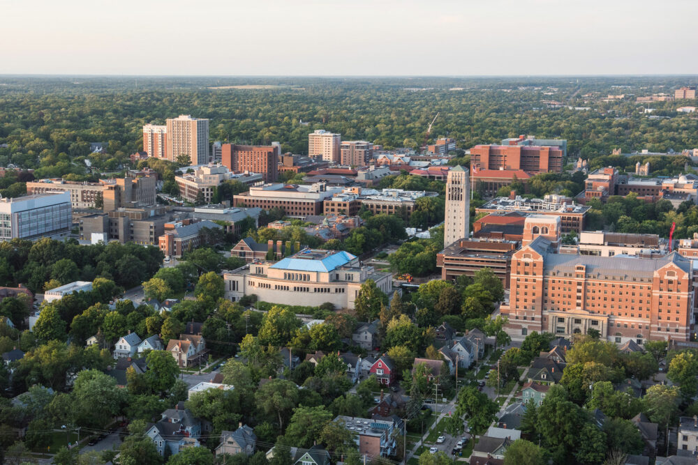 Aerial of U-M central campus and downtown Ann Arbor neighborhood