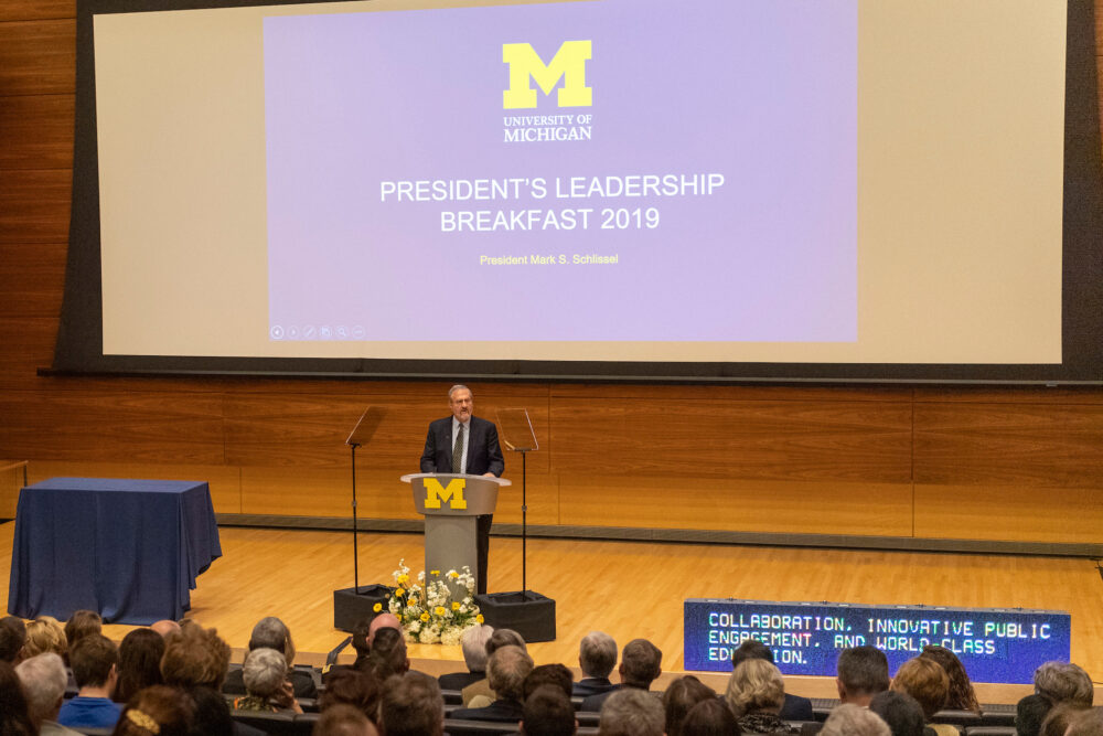 President Mark Schlissel speaking at the 2019 Leadership Breakfast