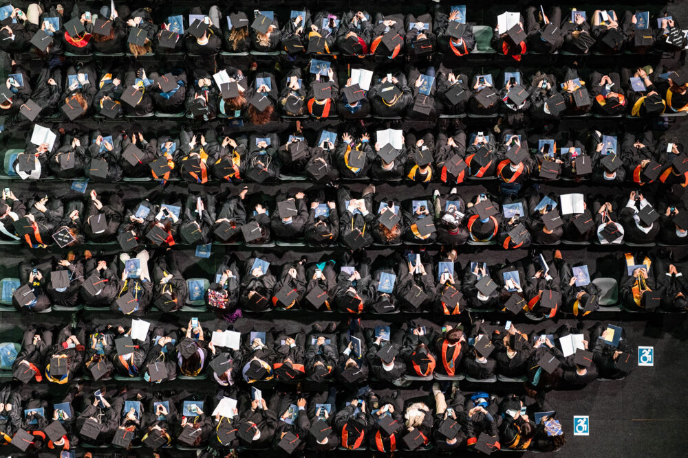 Overhead view of students during 2019 Winter Commencement