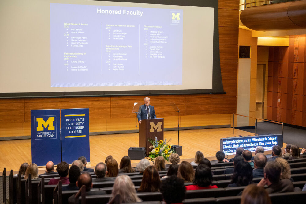 University of Michigan President Mark S. Schlissel delivers his annual leadership address to an audience of university faculty, staff and students at Robertson Auditorium inside the Ross Business School on Oct. 7, 2021.